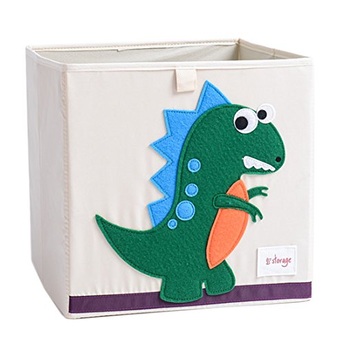 DODYMPS Foldable Animal Canvas Storage Toy Box/Bin/Cube/Chest/Basket/Organizer  For Kids, 13 Inch Dinosaur
