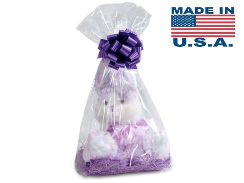 Clear Cellophane Bags Basket Bags Cello Gift Bags Gusset style bag 7 in. X 4 in X 18 In. 10 Pack