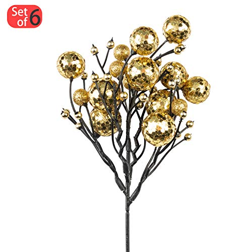 KI Store Christmas Berry Picks Decorations Artificial Glittered Berries  Stems Crafts Tree Decoration Ornaments for Xmas Tree Wedding Centerpiece  Pack of 6 ... 61c300191ef7