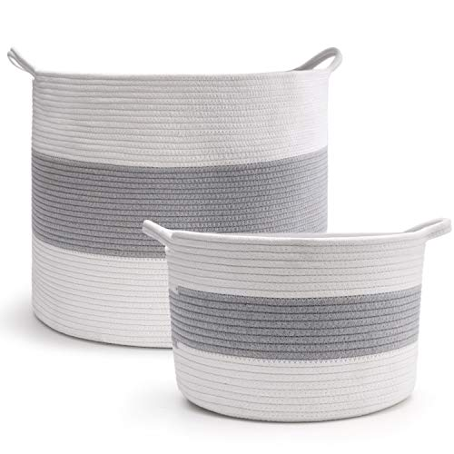 c6810f5f244a HAN-MM Extra Large Cotton Rope Storage Baskets Set Large Size 20″X16″ Small  Size 12″x8″, Blanket Basket – 2PCS Woven Baskets with Carry Handles for  Laundry, ...
